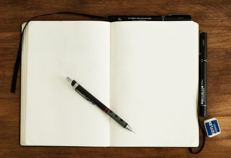 Blank notebook ready for a copywriter